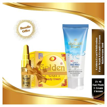 Golden Pearl Whitening Skin Serum & Beauty Cream & Herbal Face Wash