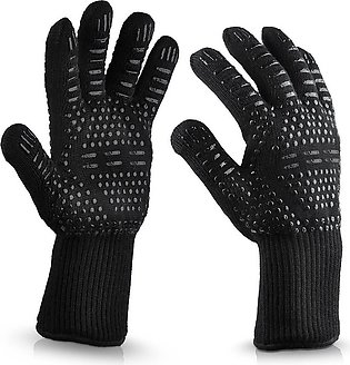 1 Pair Heat Resistant Thick Silicone Cooking Baking Barbecue Oven Gloves BBQ Gr…