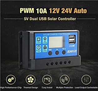 30A Solar Charge Controller 12V 24V Auto PWM LCD 5V Dual USB