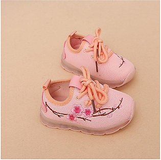 UR Autumn Embroidered Lights Shoes Boys And Girls Luminous Mesh Shoes Led Shoes