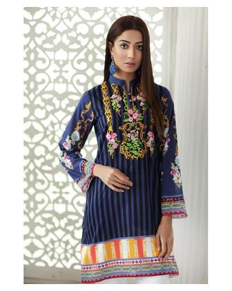 So Kamal Women EID Collection Blue 1 PCS Pret - Embroidered Lawn Int:XS DPL 19-256