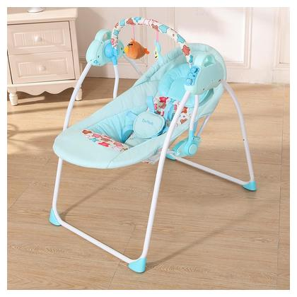 Electric Baby Cradle Swing Rocking Connect Mobile Play Music Chair Sleeping Basket Bed Crib For Newborn Infant Blue