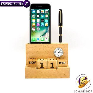 Table Calendar with Clock Pen Visiting Cards and Mobile Holder for Office
