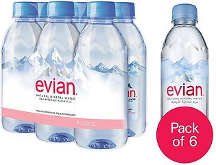 Pack Of 6 : Evian Naturally Pure Drinking Water - 330 ml