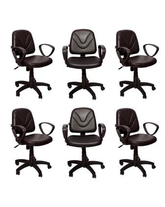 Set of 6 - Executive Office Chair - Dark Brown