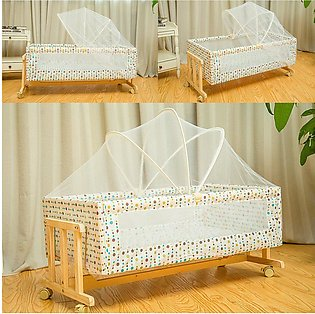 【New Arrival】Wood Baby Cradle Rocking Crib Newborn Bassinet Bed Sleeper Portabl…