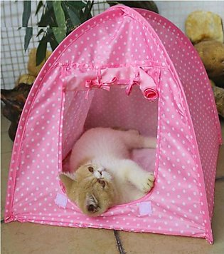 Pets Tent House Fold-able - Pink