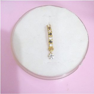 Real 4 karat gold Nose Ring with small (white & black) stone for women