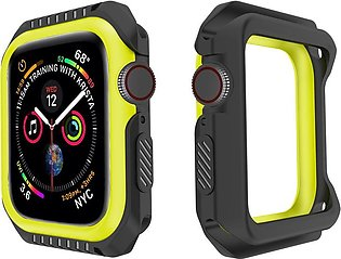 Soft Silicone 2 in 1 Two-Tone Bumper Case Cover For Apple Watch Series 4 44MM
