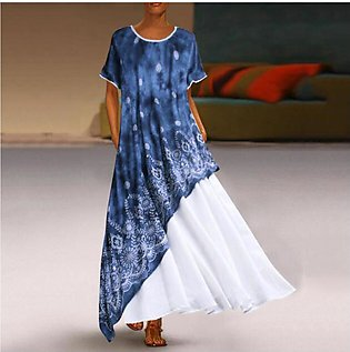 Women Dress  O Neck SplicFloral Short Sleeve Maxi