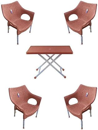 Set Of 4 BOss Plastic Chairs And Plastic Table