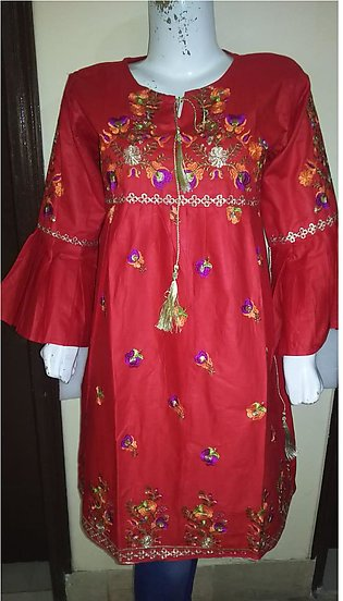 Red color embroidered & stitched three piece suit for females stuff cotton by...
