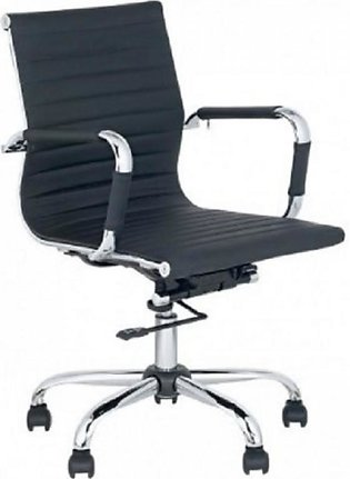 Low Back Office Revolving Staff Chair - Black & Silver