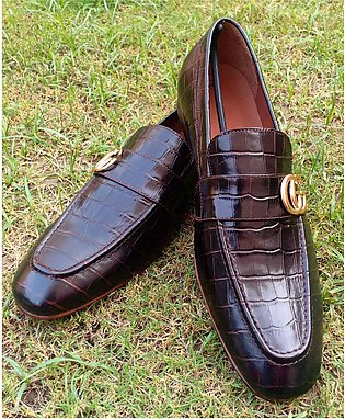 Brown Crocodial Slip on Formal & Dress Leather Shoes for Men - 10-21