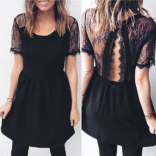 Womens Holiday O Collar Lace Party Ladies Casual Dress Short Sleeve Dress