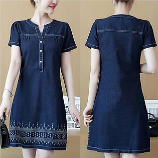 Women Dress Denim V-Neck Short Sleeve Knee