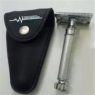 Export Quality Double Edge Safety Razor Silver Colour With Leather Pouch