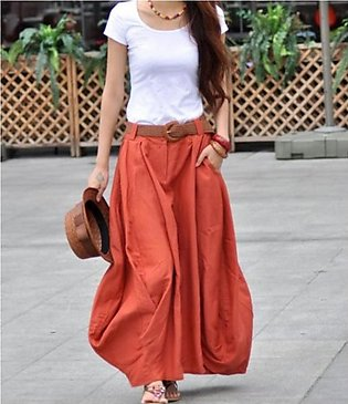 Rust Cotton Long Skirt With White T-shirt For Women