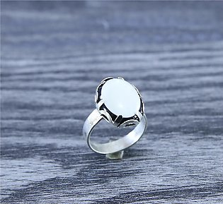 White Opal Stone Trendy Silver Plated Ring