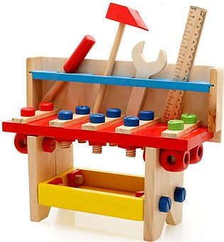 Kid Children Wooden Work Bench Tool Set Play Toy Wrench Screwdriver Scale Hammer