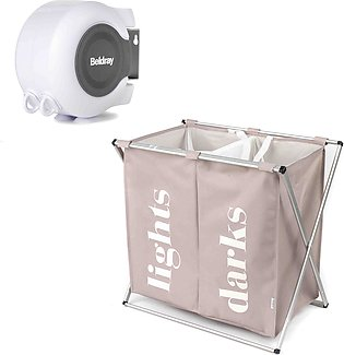 Cloth Laundry Basket With Stand 2 grid