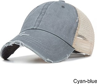 New Type Casual Solid Cotton Truck Cap For Women Men Black White Summer Mesh Sn…