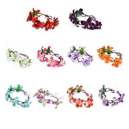 Artificial Flowers Lily Flower Wreath Headband Artificial Flower Headdress Floral Garland