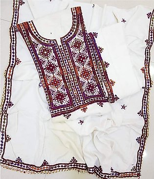 HAND MADE BALOCHI EMBROIDERED SUITE IN 3 PIECE A ONE QUALITY STUFF