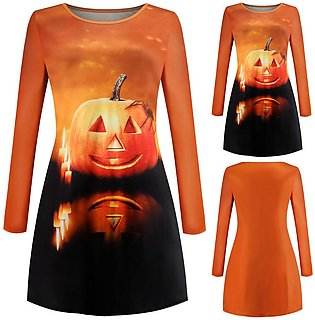 Halloween Women Dress Long Sleeve Print Party Swing Dress
