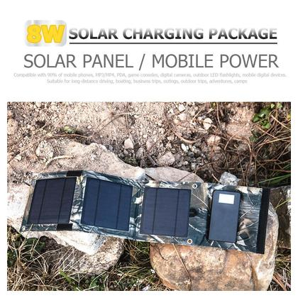 Outdoor Portable Canvas Foldable Solar Panel Charger 8W Mobile Power Bank
