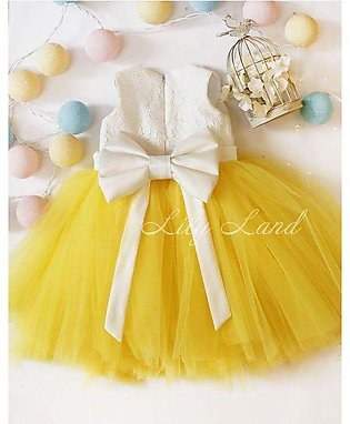 Baby girl party wear frock yellow & white