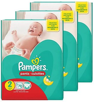 Pampers Pack of 3 Baby Dry Diapers Pants Size 2, 72 count