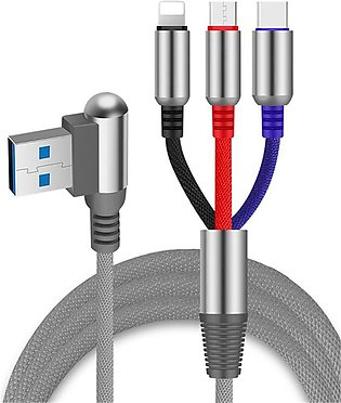 Lightning Type C Micro USB 3-in-1 Cable 2.4A Fast Charging Cable 1.2m For IPhon…