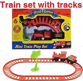 Train Set without battery Mini Train Set with Engine Cart Tracks & Tree Full Tr…