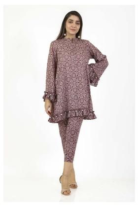 EGO Winter Collection 2019 Circles 2 Piece Maroon Cotton 2Pcs Stitched For Women