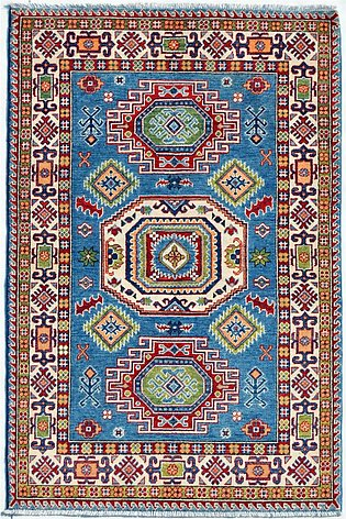 4' x 6' Hand-Knotted Kazak Blue Color Wool Area Rug and Carpets