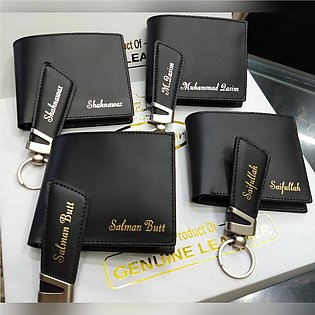 Wallet and Key Chain Leather Set for Gift.