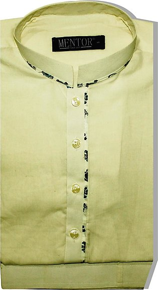 Light Yellow Khadar Ban collar Kameez Shalwar for Men
