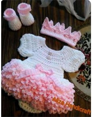 Woolen Baby Frock, Crochet Frock Full Set With shoes And Hair Band