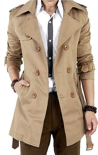 Free Spirit Men Windbreaker Long Fashion Jacket with Double-breasted Buttons ...