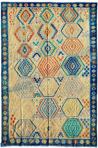 7 by 9 ft Multi Color hand-made Vegetable Dye kilim/ Area Rug flat weave Carpets