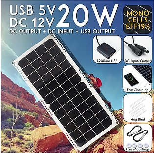 20W 12V/5V DC/USB Solar Panel Power Bank For Camping Hiking Mobile Phone Charger