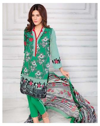 GA - Gul Ahmed - Green Silk with Printed Shirt Embroidered Lace 3PC-Unstitched - AS-14-158503