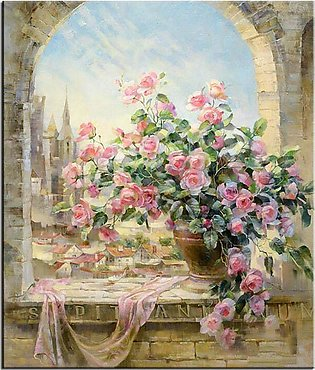Window Flowers Scene Painting By Numbers DIY Kits Wall Pictures for living room…