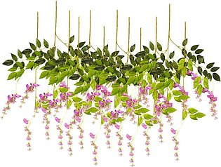 12Pcs Artificial Plant Silk Flower Wisteria Vine Hanging Garland Garden Wedding