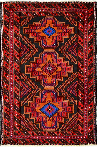 4 by 6 red hand-knotted Tribal area Rug and carpets