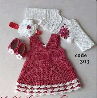 Baby Crochet frocks Full Set (You can also order diffrent colours and size)