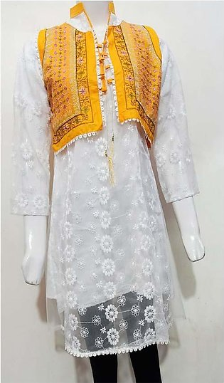 AYESHA STYLEUP'S WHITE COLORED EMBROIDERED FROCK STYLE NET KURTI , TEAMED UP ...