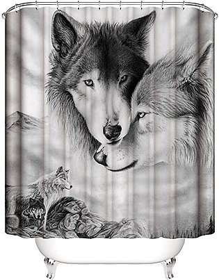 180x180cm White Wolf Shower Curtain Square Bathroom Waterproof Polyester Mat