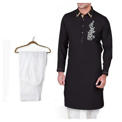 Buy 1 Ready Made Designer Kurta For Men - Design 2 - Black chest flower + 1 Pajama